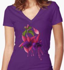 Fuchsia Women's Fitted V-Neck T-Shirt