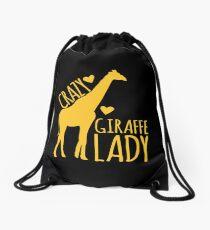 CRAZY Giraffe Lady  Drawstring Bag