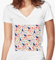 Rustic Floral Women's Fitted V-Neck T-Shirt