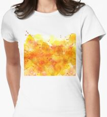 orange watercolor Splash abstract background Womens Fitted T-Shirt