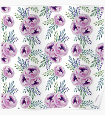 Watercolor Flowers Pattern Poster