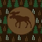 Rustic Moose with Pine Tree and Branch by JessDesigns