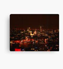 London's City Skyline By Night Canvas Print