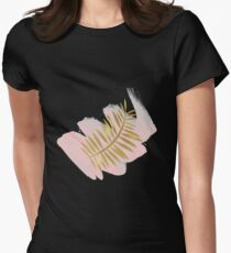 Golden palm on blush pink Womens Fitted T-Shirt
