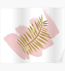 Golden palm on blush pink Poster