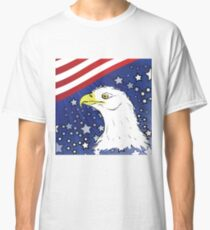 Head of white american eagle on starry background Classic T-Shirt