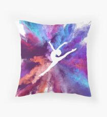Gymnast Rainbow Explosion Throw Pillow