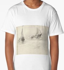 Two sailing ships with figures at sea, Petrus Johannes Schotel Long T-Shirt