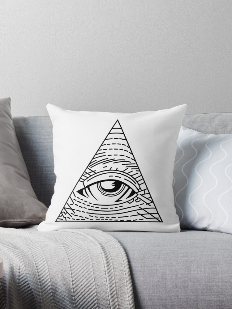 Quot Illuminati Black All Seeing Eye Simple Quot Throw Pillows