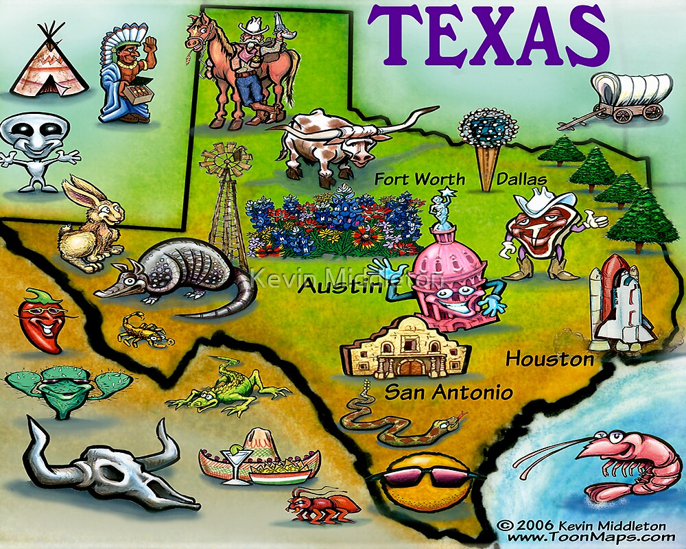 Texas Cartoon Map by Kevin Middleton