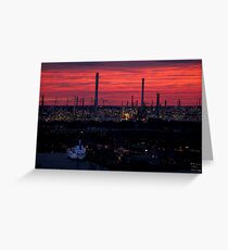 Rotterdam Harbour Skyline at Sunset, from Euromast Greeting Card