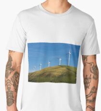 Row of wind turbines on hill Men's Premium T-Shirt