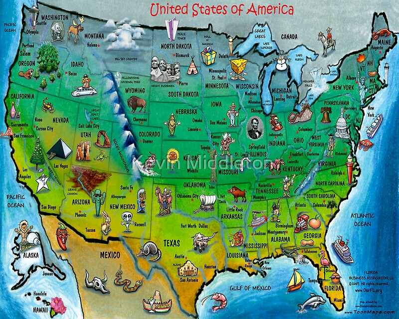 USA Cartoon Map Posters By Kevin Middleton Redbubble - Cartoon us map