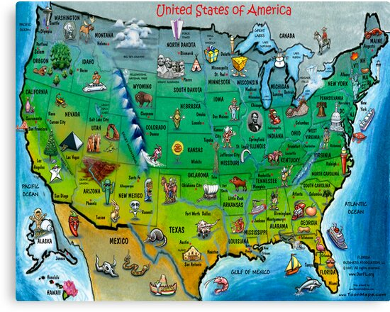 USA Cartoon Map Canvas Prints By Kevin Middleton Redbubble - Cartoon us map