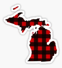 State of Michigan - Red Black Plaid  Sticker