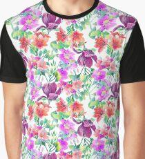 Purple Watercolor Flowers Graphic T-Shirt