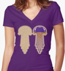 Peanut Butter And Jellyfish Sammich - Grape Women's Fitted V-Neck T-Shirt