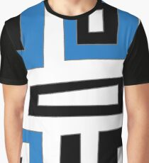 Blue white black geometric pattern Graphic T-Shirt