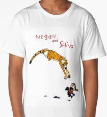 Calvin and Hobbes style Negan and Shiva Cartoon Print Walking Dead Long T-Shirt