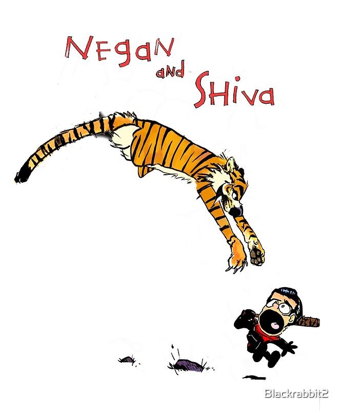 Láminas artísticas «Estilo de Calvin y Hobbes Negan y Shiva Cartoon ...