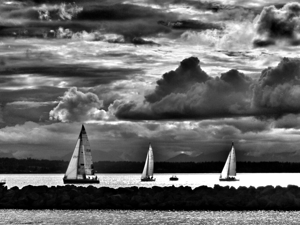 Sailboats racing in black in white by everyonestravel