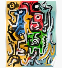 Primitive street art abstract Poster
