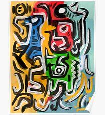 Primitive Straßenkunst abstrakt Poster