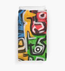 Primitive street art abstract Duvet Cover