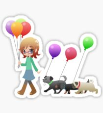 Doggies and Balloons [Commission] Sticker