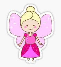 Cute winged fairy in pink dress Sticker