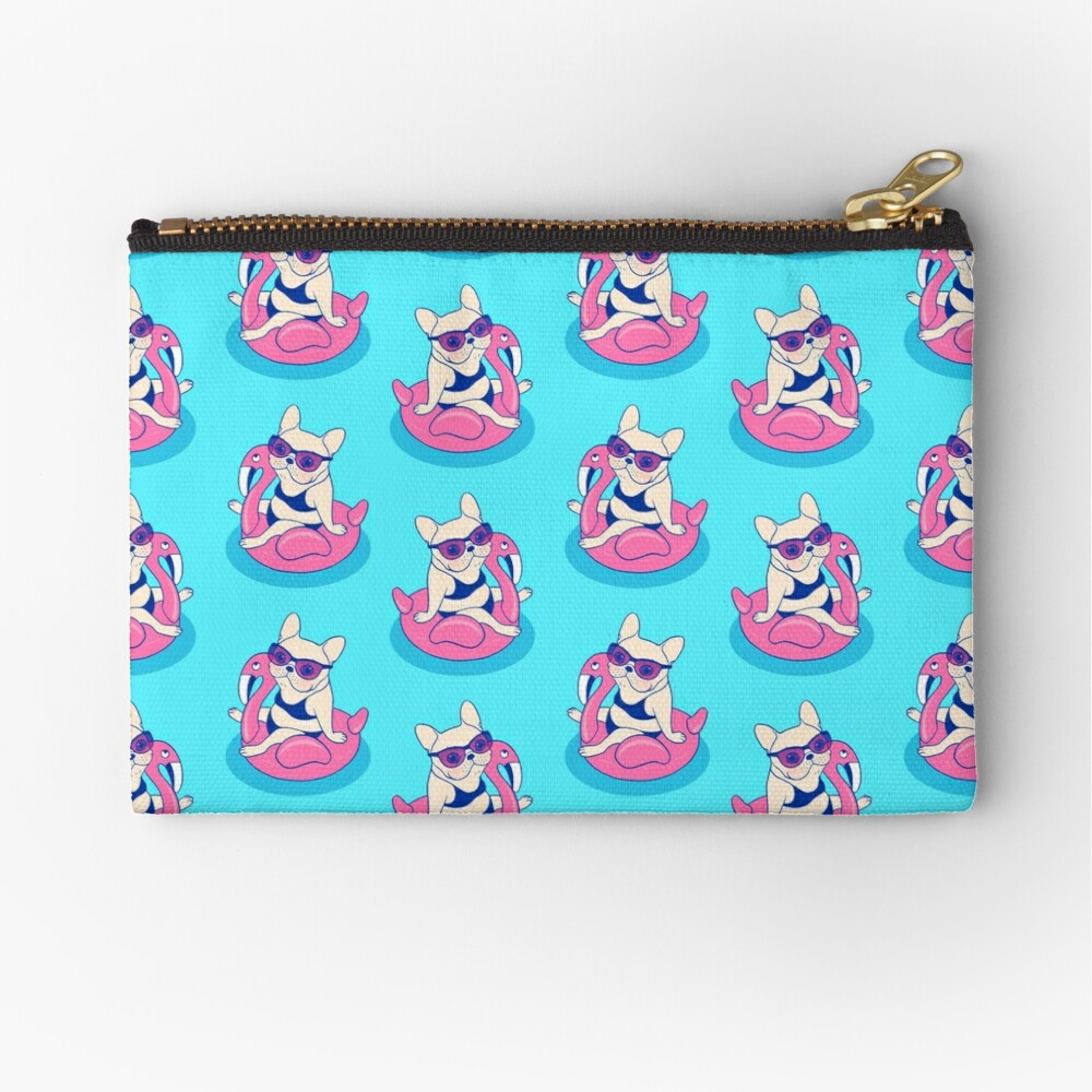Frenchie enjoys Summer on Flamingo Pool Float in swimming pool Zipper Pouch