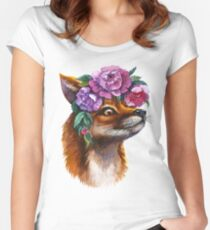 Red Fox and Peonies Women's Fitted Scoop T-Shirt