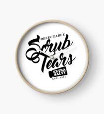 Delectable Scrub Tears, Extra Salty (Black Text) Clock