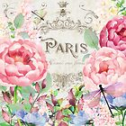 Paris Flower Market I roses, flowers, floral dragonflies by Glimmersmith