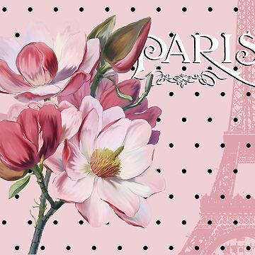 Sophisticated Parisian Pink Magnolias black polka dots, Eiffel Tower France by Glimmersmith