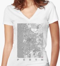 Perth Map Line Women's Fitted V-Neck T-Shirt