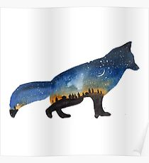 Fox galaxy watercolor illustration Poster