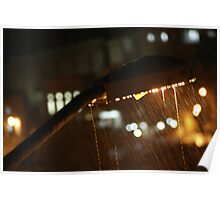 Street flashlight in the rain Poster
