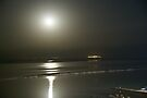 Moon rise over the dead sea by Moshe Cohen