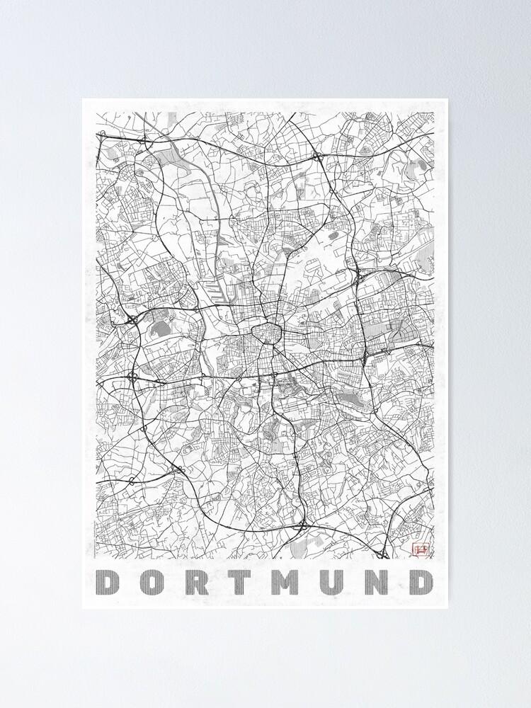 Alternate view of Dortmund Map Line Poster