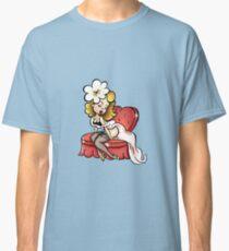 Cute Cartoon Pinup Blonde on a Loveseat Classic T-Shirt