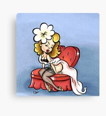 Cute Cartoon Pinup Blonde on a Loveseat Canvas Print