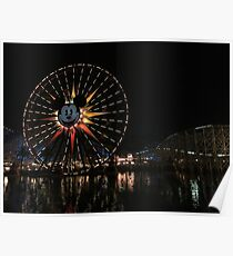 Disneyland's Ferris wheel at Night Poster