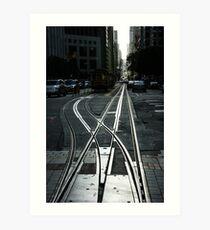 San Francisco Silver Cable Car Tracks Art Print