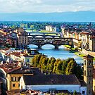 Impressions Of Florence - Arno River And The Bridges From Above by Georgia Mizuleva