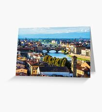 Impressions Of Florence - Arno River And The Bridges From Above Greeting Card