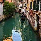 Impressions of Venice - Green Reflections and a Gondola by Georgia Mizuleva