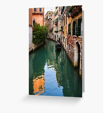 Impressions of Venice - Green Reflections and a Gondola Greeting Card