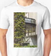 Gardening Delights - Wisteria, Aloe Vera and a Stained Glass Canopy - Right Unisex T-Shirt