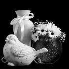 Vase, Bird And Daisies by Sandra Foster